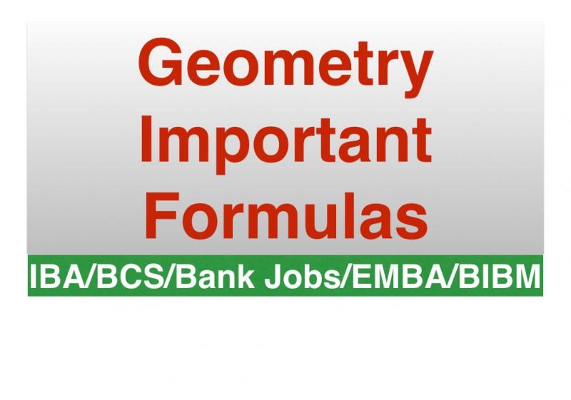 Geometry Important Formulas